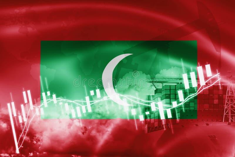 Drapeau des Maldives, marché boursier, économie d'échange et commerce, production de pétrole, navire porte-conteneurs dans des af illustration stock