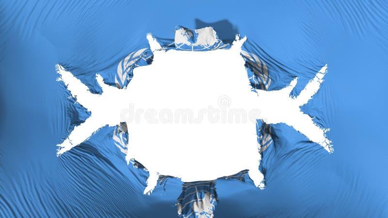 Drapeau des Nations Unies avec un grand trou illustration libre de droits