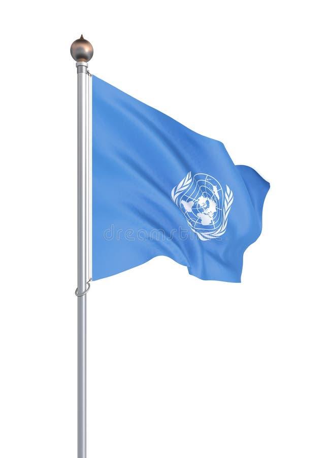 Drapeau des Nations Unies D'isolement sur le blanc Illustration illustration de vecteur