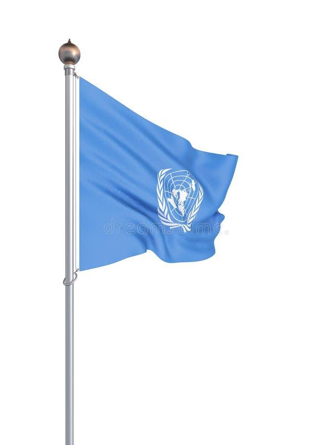 Drapeau des Nations Unies D'isolement sur le blanc Illustration illustration stock