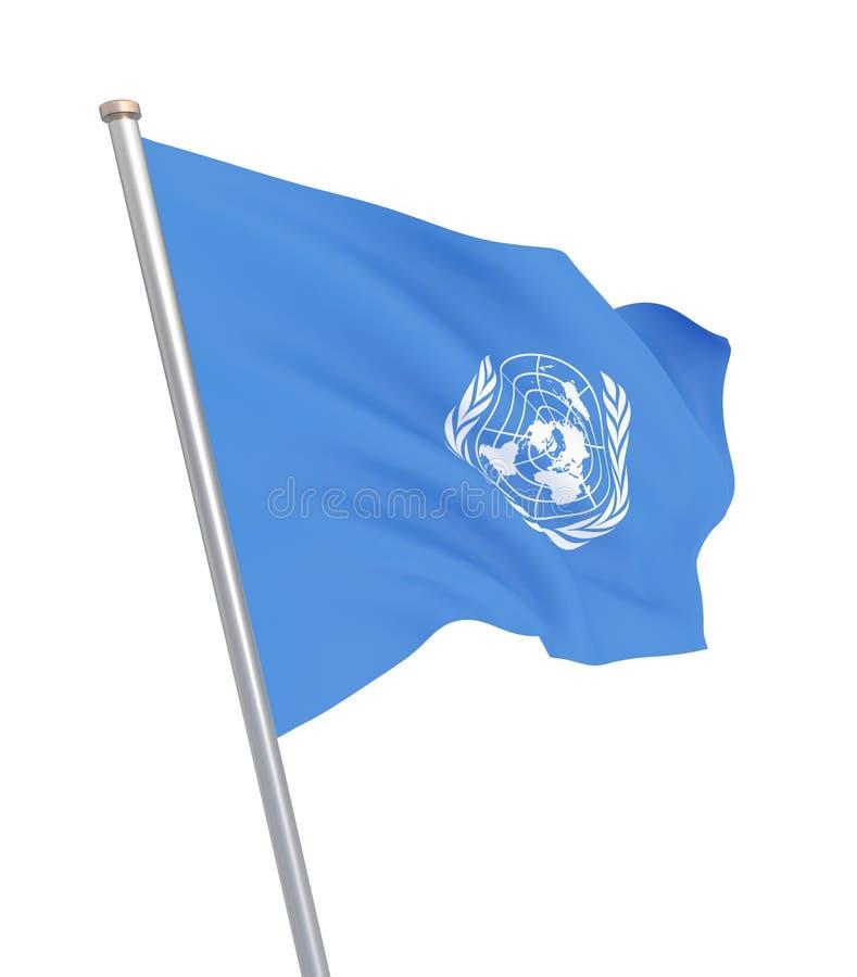 Drapeau des Nations Unies D'isolement sur le blanc Illustration illustration libre de droits