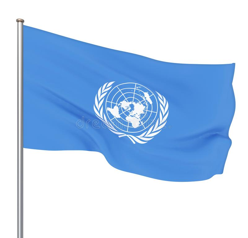 Drapeau des Nations Unies D'isolement sur le blanc Illustration illustration libre de droits