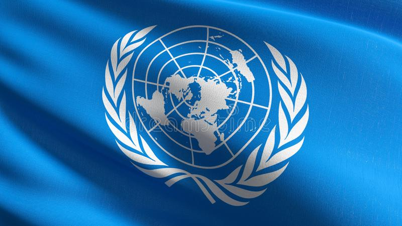 Drapeau des Nations Unies soufflant dans le vent d'isolement Conception abstraite patriotique officielle illustration du rendu 3D illustration libre de droits