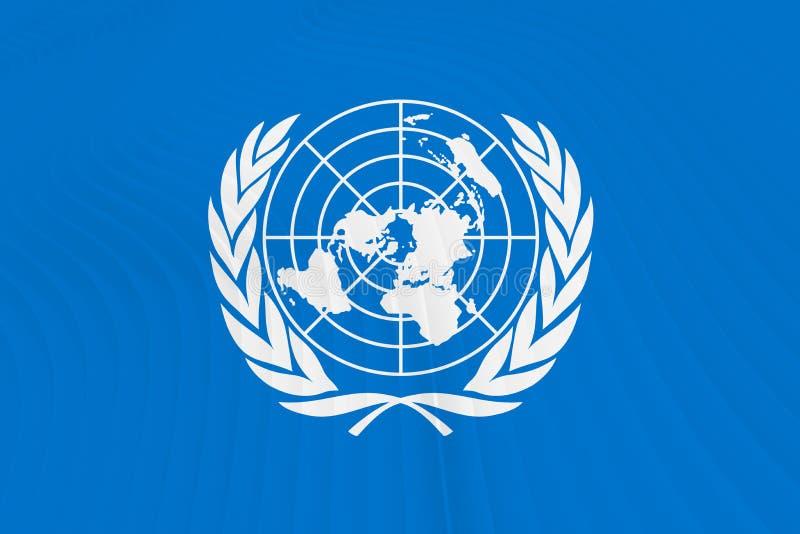 Drapeau des Nations Unies sur des vagues illustration stock