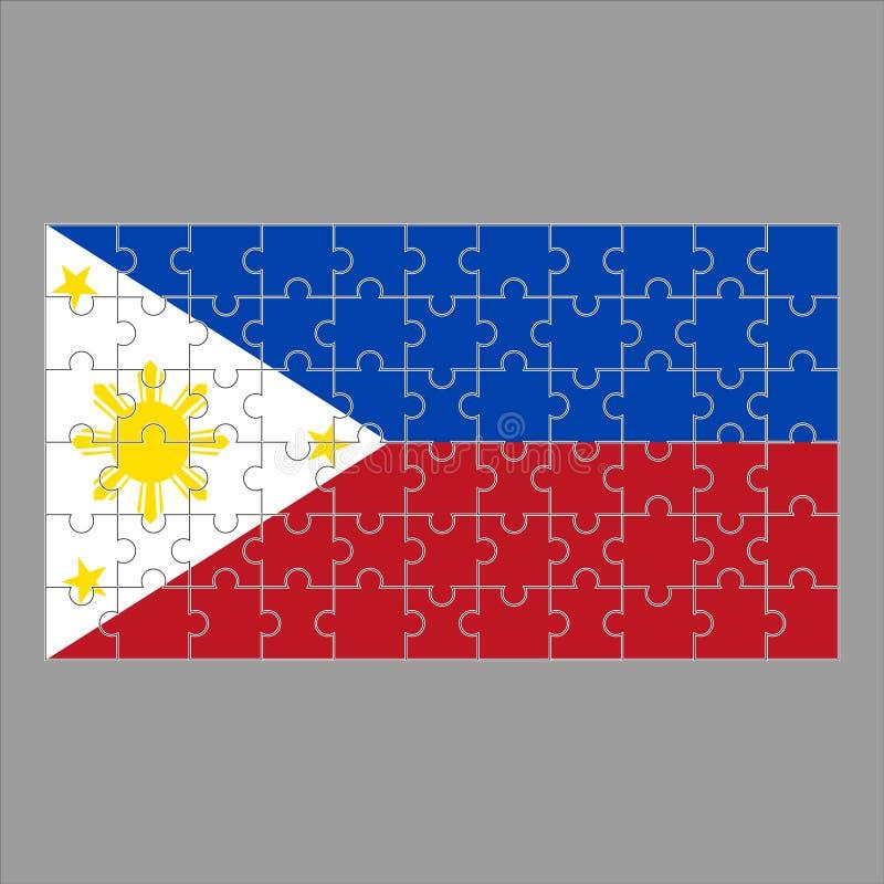 Drapeau des Philippines des puzzles sur un fond gris illustration libre de droits