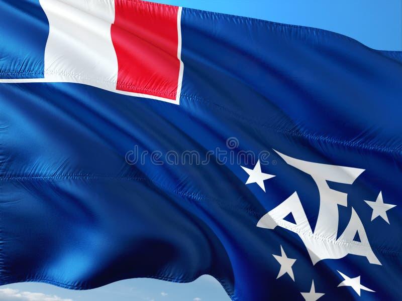Drapeau des terres du sud et antarctiques fran?aises ondulant dans le vent contre le ciel bleu profond Tissu de haute qualit? image stock
