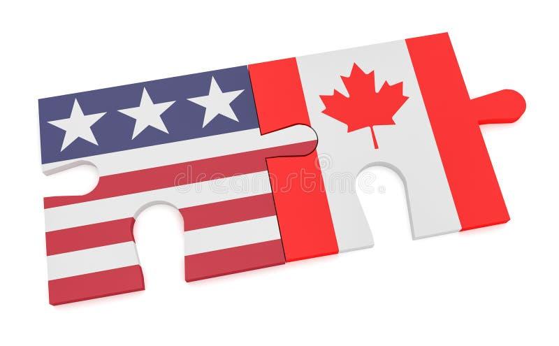 Drapeau des USA et morceaux canadiens de puzzle de drapeau, illustration 3d d'isolement sur le blanc illustration libre de droits