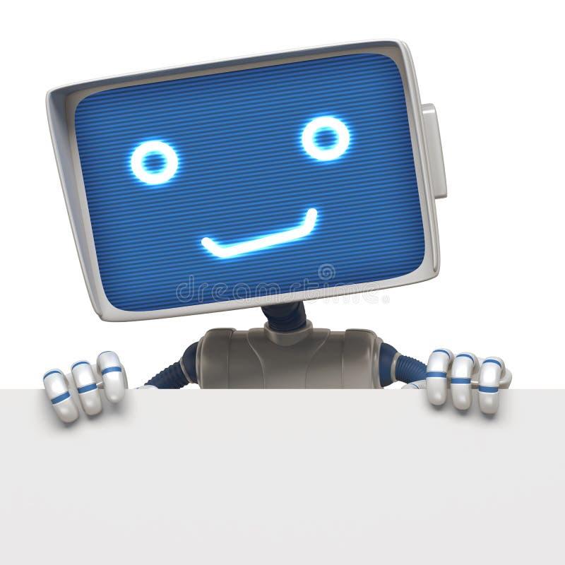 Drapeau drôle de fixation de robot illustration stock