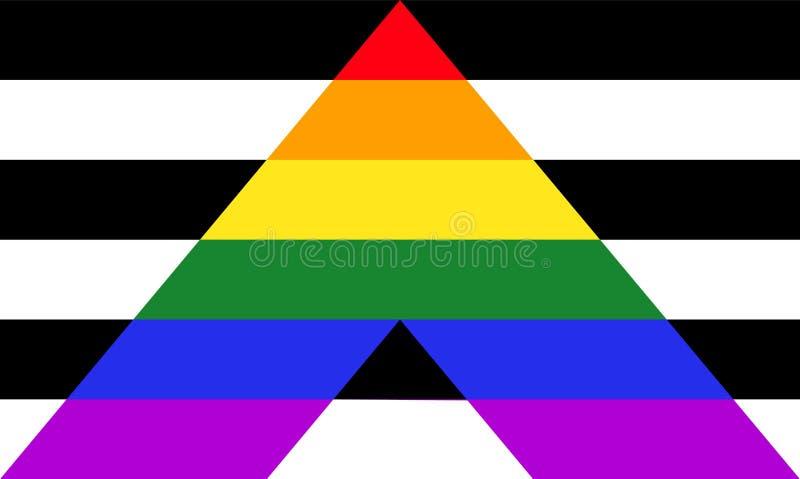 Drapeau droit de fierté d'allié - mélange de LGBT et de signes hétérosexuels des communautés illustration libre de droits