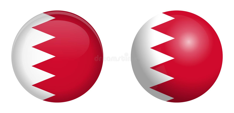 Drapeau du Bahrain sous le bouton du dôme 3d et sur la sphère/boule brillantes illustration libre de droits