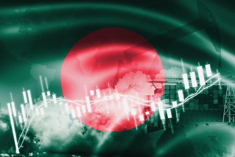 Drapeau du Bangladesh, marché boursier, économie d'échange et commerce, production de pétrole, navire porte-conteneurs dans des a illustration libre de droits