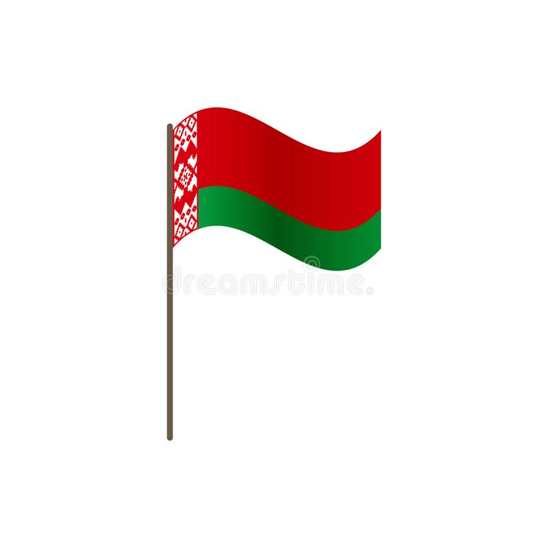 Drapeau du Belarus sur le mât de drapeau Couleurs et proportion officielles correctement L'ondulation du drapeau du Belarus sur l illustration de vecteur