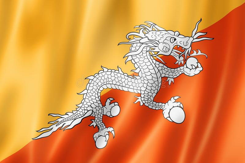 Drapeau du Bhutan illustration de vecteur