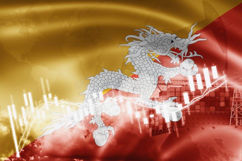 Drapeau du Bhutan, marché boursier, économie d'échange et commerce, production de pétrole, navire porte-conteneurs dans l'exporta illustration de vecteur