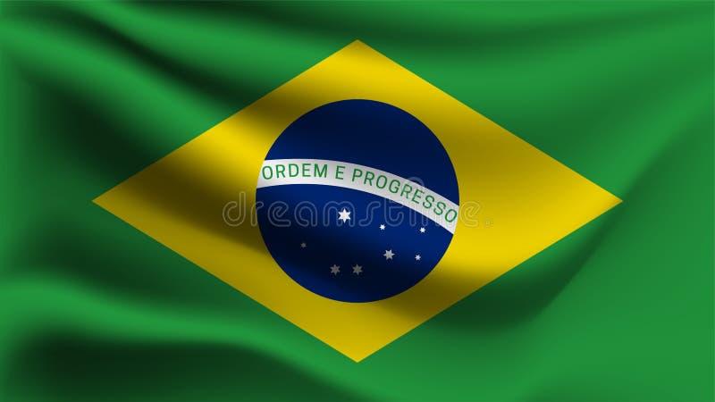 Drapeau du Brésil ondulant avec le vent, drapeau de vague de l'illustration 3D illustration stock