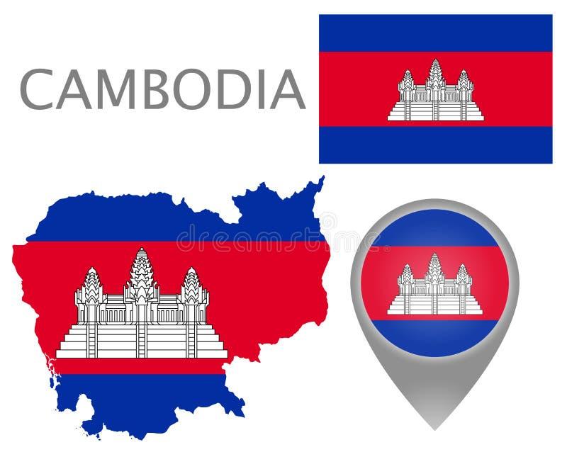 Drapeau du Cambodge, carte et indicateur de carte illustration de vecteur
