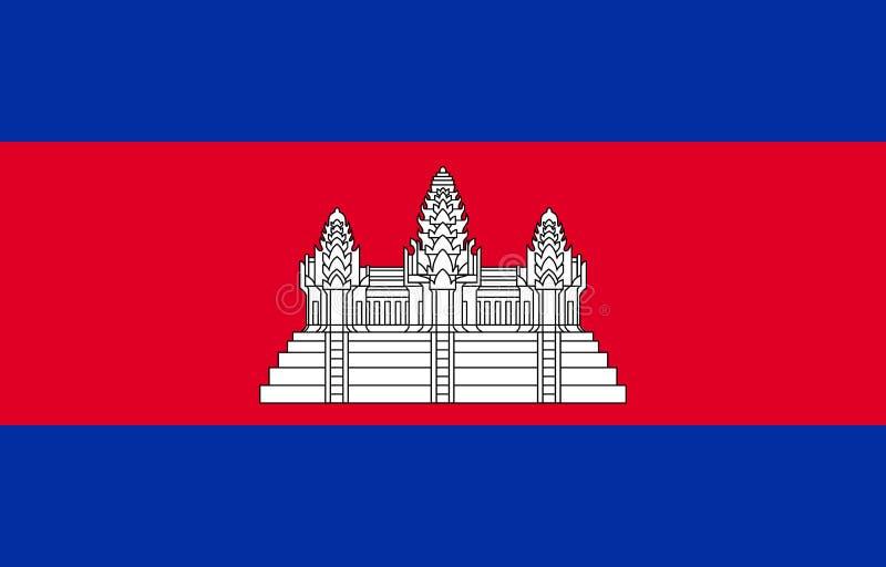 Drapeau du Cambodge dans des couleurs officielles et avec l'allongement du 16h25 illustration libre de droits
