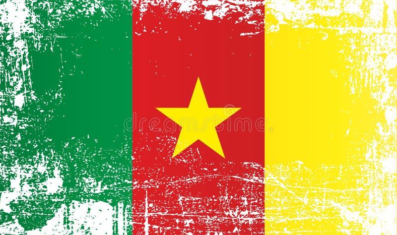 Drapeau du Cameroun, Afrique Taches sales froissées illustration de vecteur