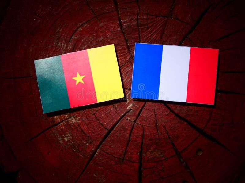 Drapeau du Cameroun avec le drapeau français sur un tronçon d'arbre d'isolement photos libres de droits