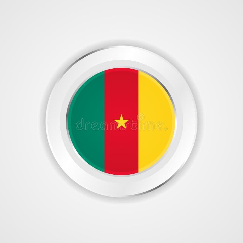 Drapeau du Cameroun dans l'icône brillante illustration stock