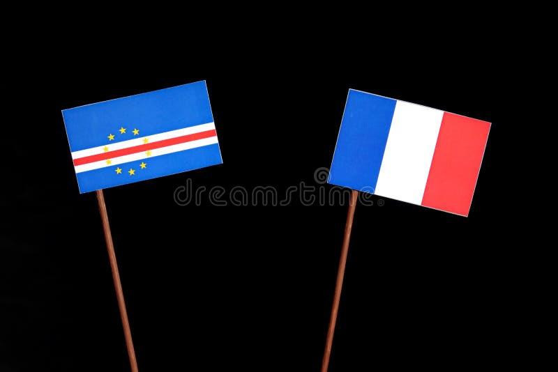 Drapeau du Cap Vert avec le drapeau français sur le noir photo stock