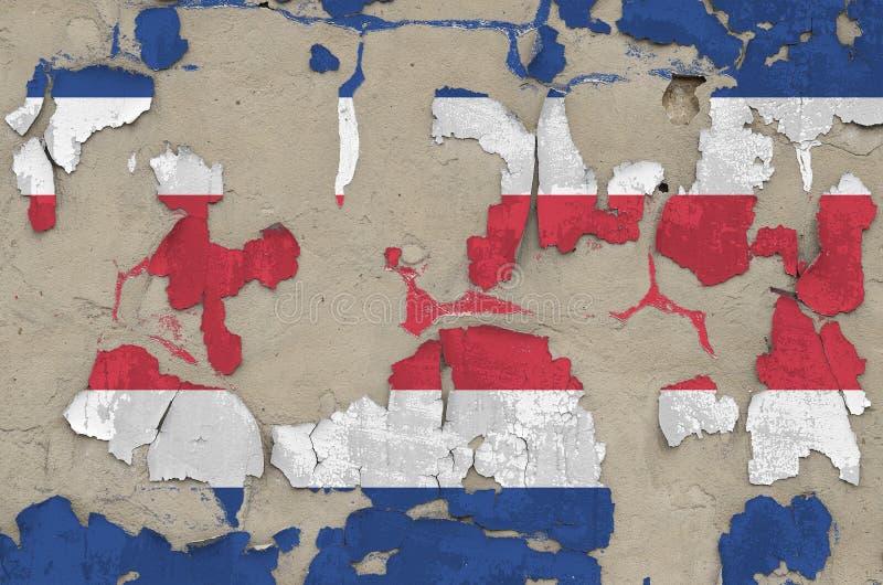 Drapeau du Costa Rica peint en couleurs sur un vieux mur en béton désuet Bannière textuelle sur fond brut photographie stock