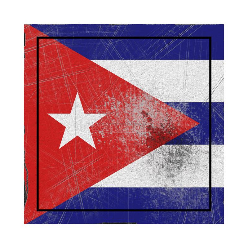 Drapeau du Cuba dans la place concrète illustration libre de droits