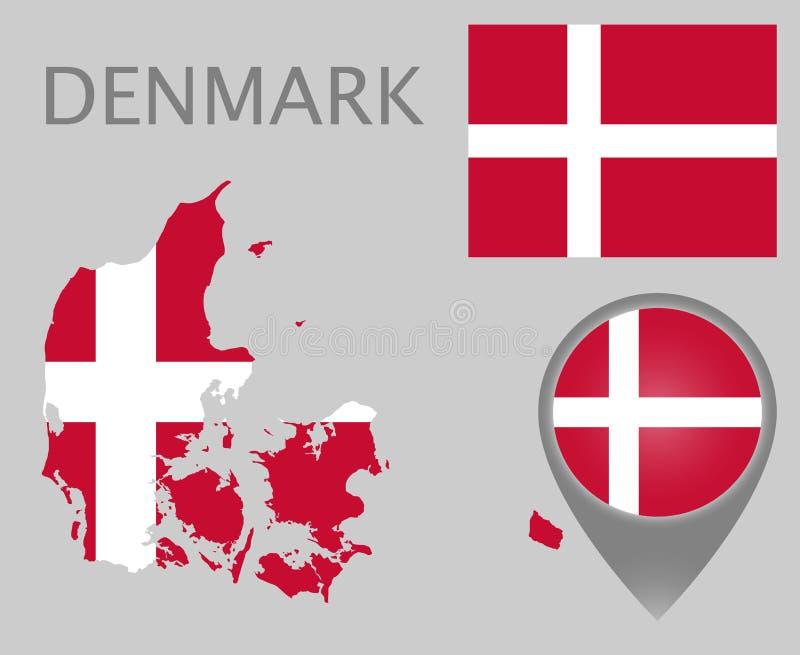 Drapeau du Danemark, carte et indicateur de carte illustration stock