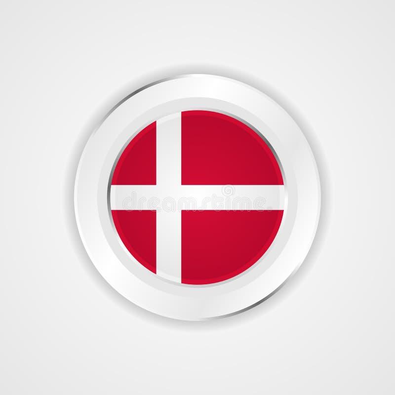 Drapeau du Danemark dans l'icône brillante illustration stock