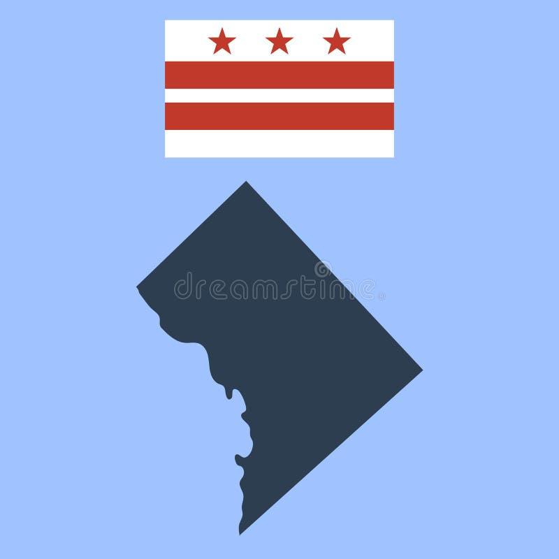 Drapeau du District de Columbia et la carte illustration stock