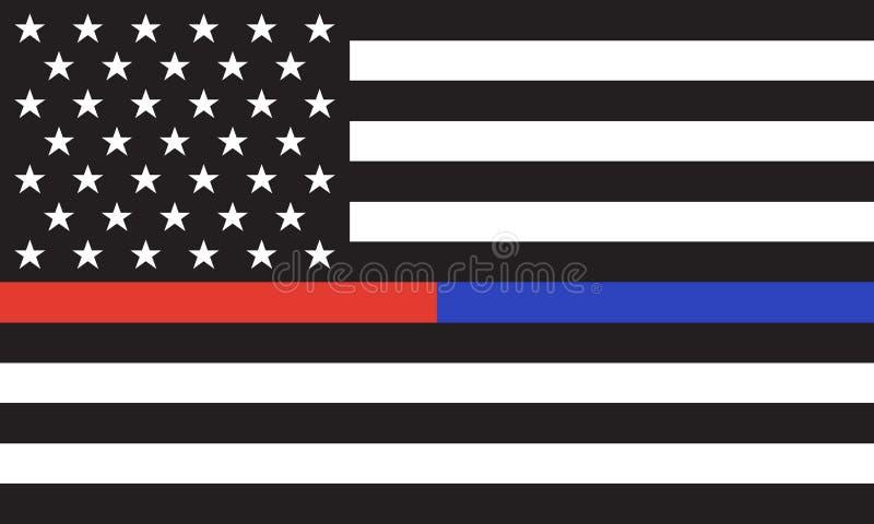 Drapeau du feu de Police& d'Américain de vecteur illustration stock