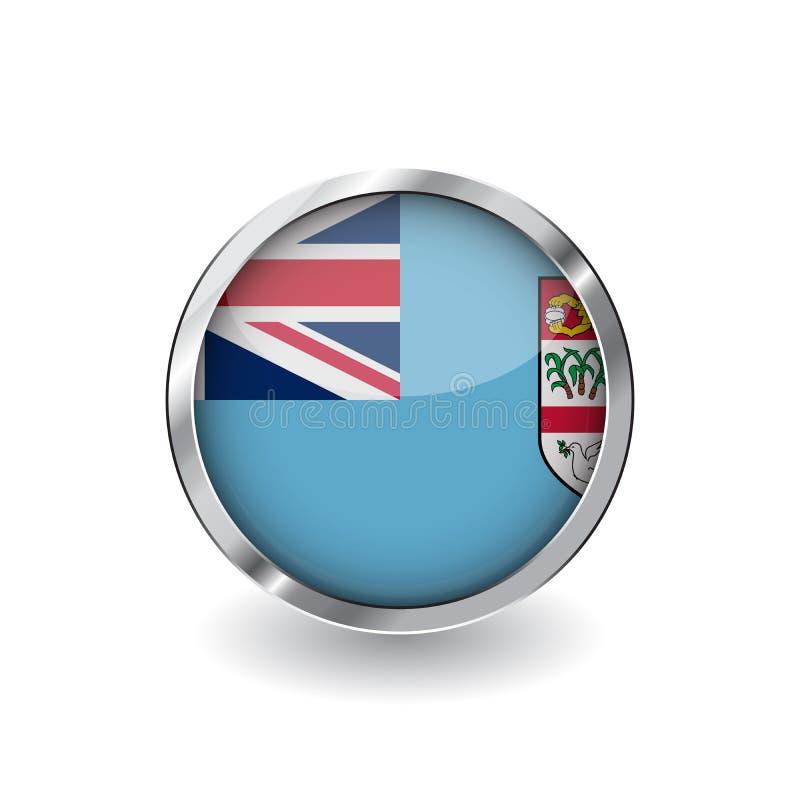 Drapeau du Fiji, bouton avec le cadre en métal et l'ombre icône de vecteur de drapeau du Fiji, insigne avec l'effet brillant et f illustration stock