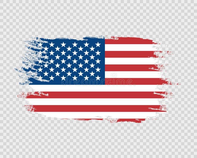 Drapeau du grunge de la couleur des Etats-Unis d'Amérique, brosse Conception d'art de vecteur, calibre, multicolore nous drapeau  illustration de vecteur