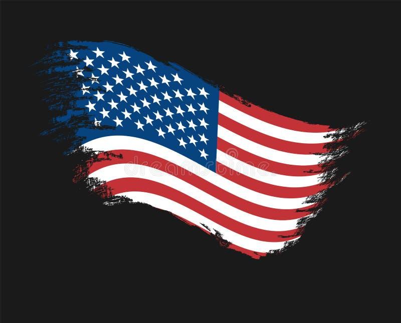 Drapeau du grunge de la couleur des Etats-Unis d'Amérique, brosse, se développant Dirigez l'art, calibre, multicolore Bleu, rouge illustration de vecteur