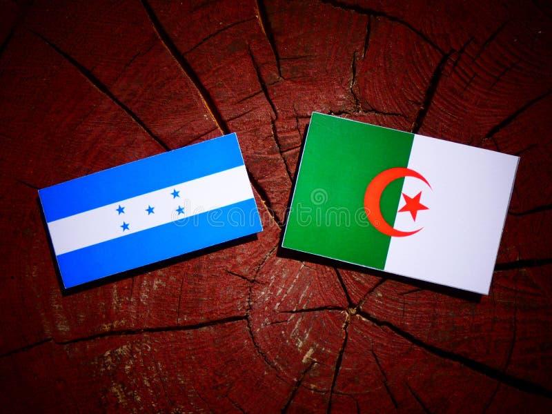 Drapeau du Honduras avec le drapeau algérien sur un tronçon d'arbre d'isolement illustration libre de droits