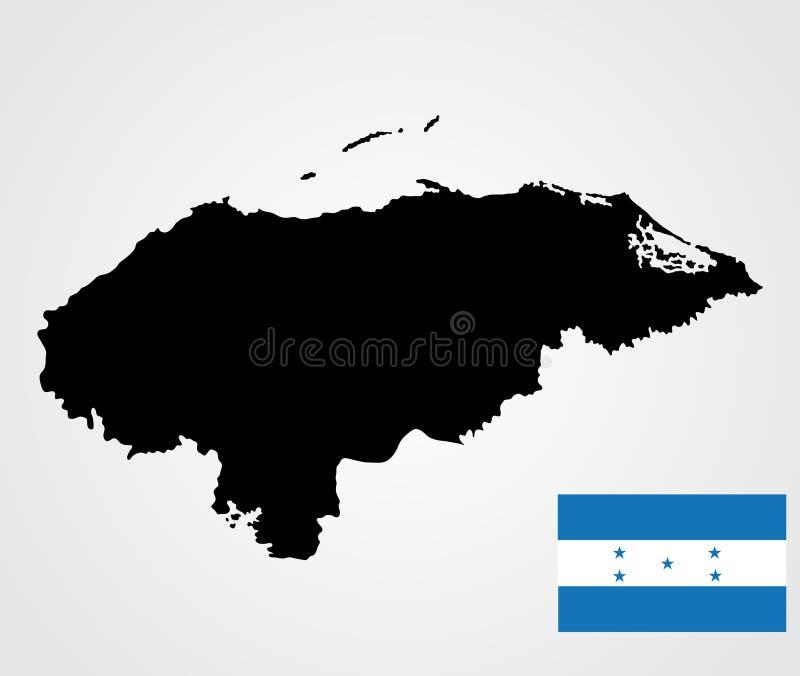 Drapeau du Honduras Carte du Honduras illustration libre de droits