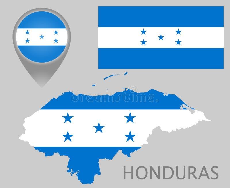 Drapeau du Honduras, carte et indicateur de carte illustration stock