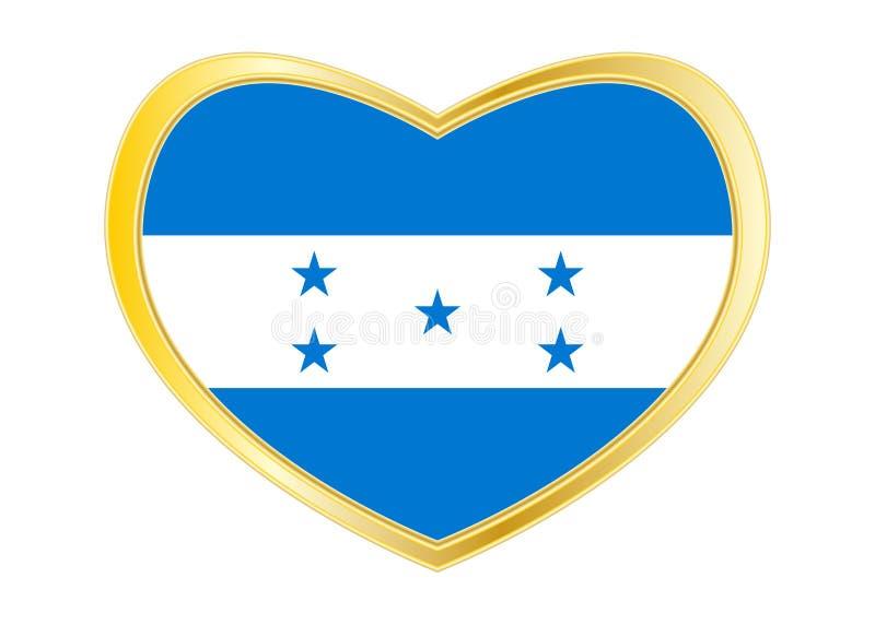 Drapeau du Honduras dans la forme de coeur, cadre d'or illustration de vecteur