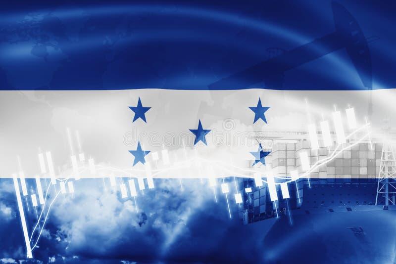 Drapeau du Honduras, marché boursier, économie d'échange et commerce, production de pétrole, navire porte-conteneurs dans des aff illustration libre de droits