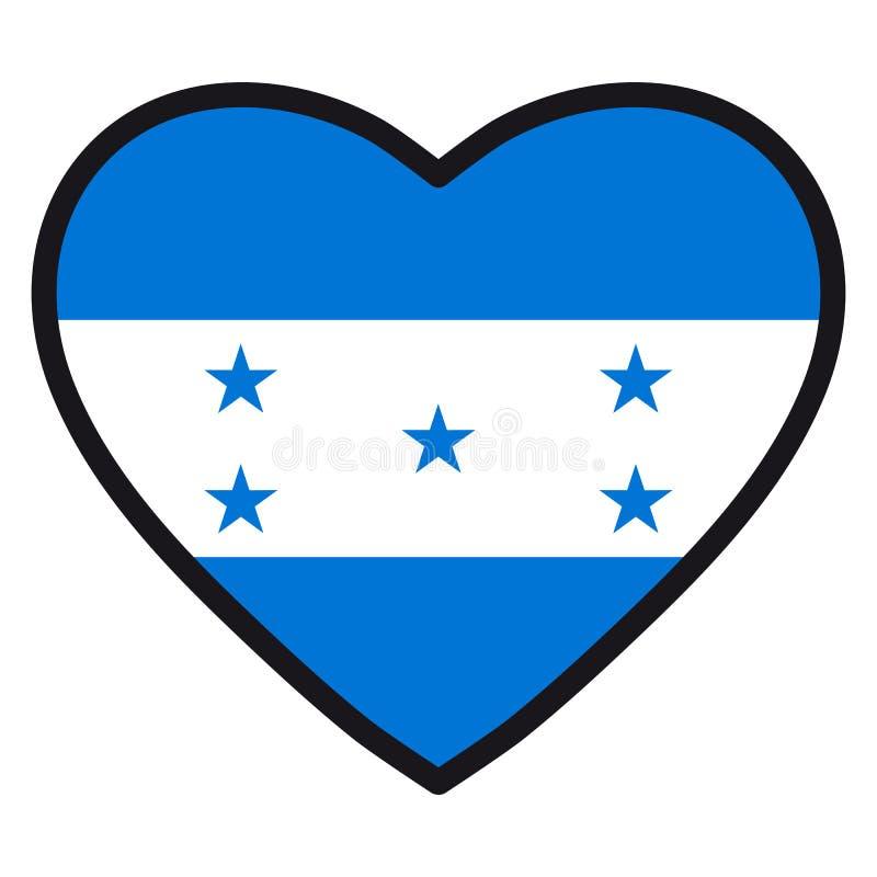 Drapeau du Honduras sous forme de coeur avec la découpe contrastante, illustration stock