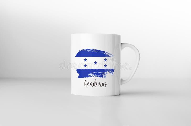 Drapeau du Honduras sur la tasse de café blanc illustration de vecteur