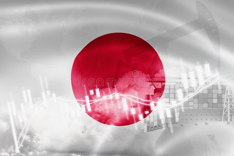 Drapeau du Japon, marché boursier, économie d'échange et commerce, production de pétrole, navire porte-conteneurs dans l'exportat illustration stock