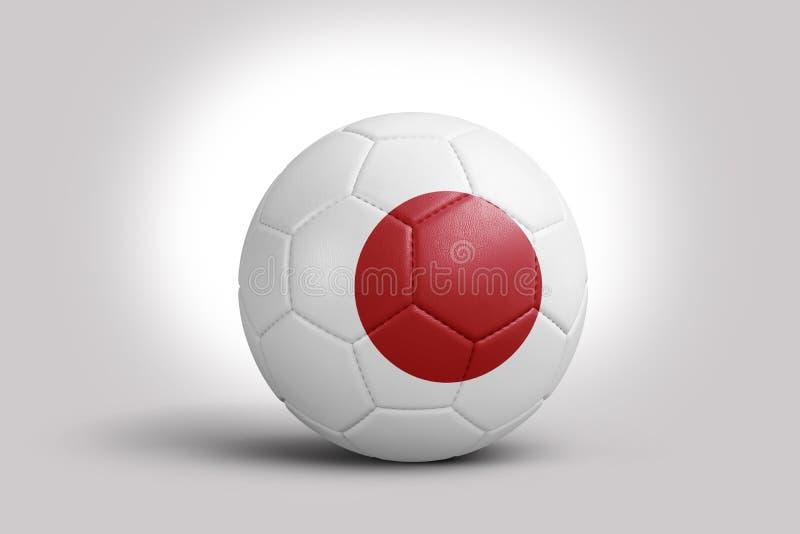 Drapeau du Japon sur la boule, rendu 3d Ballon de football dans l'illustration 3d illustration libre de droits