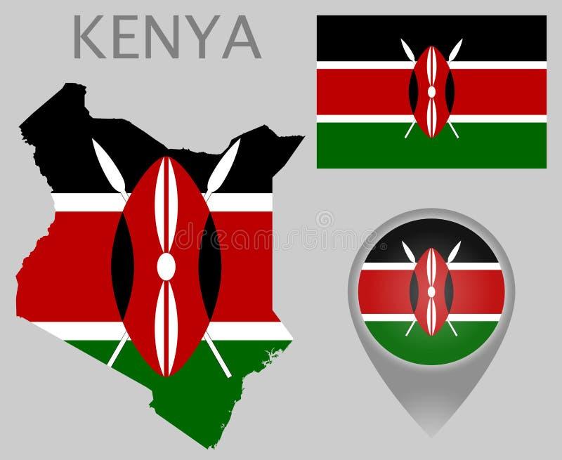 Drapeau du Kenya, carte et indicateur de carte illustration de vecteur