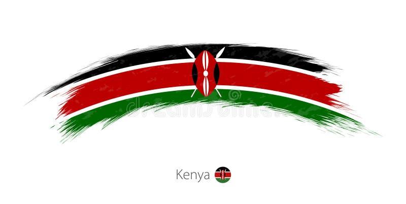 Drapeau du Kenya dans la course grunge arrondie de brosse illustration stock