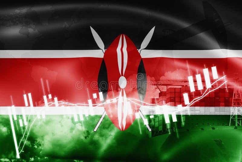 Drapeau du Kenya, marché boursier, économie d'échange et commerce, production de pétrole, navire porte-conteneurs dans l'exportat illustration de vecteur