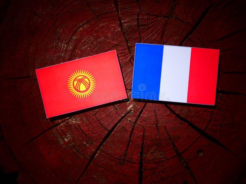 Drapeau du Kirghizistan avec le drapeau français sur un tronçon d'arbre d'isolement photo stock