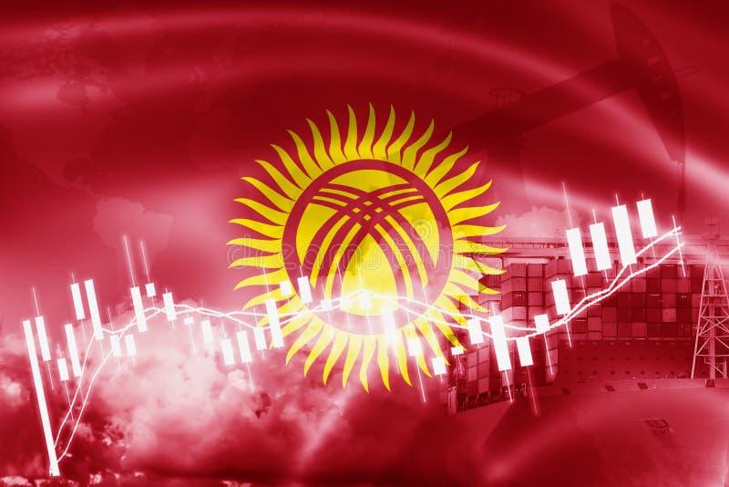 Drapeau du Kirghizistan, marché boursier, économie d'échange et commerce, production de pétrole, navire porte-conteneurs dans des illustration stock