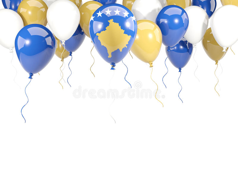 Drapeau du Kosovo sur des ballons illustration stock