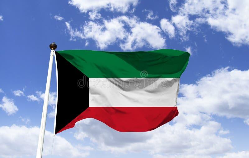 Drapeau du Kowéit, pays Arabe dans le golfe Persique photographie stock libre de droits